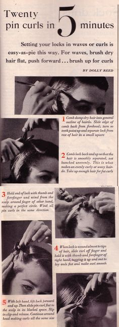 Pin Curls How-To.  Good tutorial
