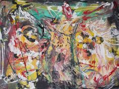 """ORIGINAL """"MONKEY GRINDER"""" ACRYLIC ABSTRACT PAINTING HAND PAINTED BY TEXAS ARTIST #Abstract"""