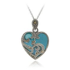 """Sterling Silver Marcasite & Turquoise Heart Necklace, 18"""" $25.00"""