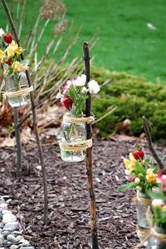 I think this would be so adorable at an outdoor wedding or summer tea/garden party. I'm also thinking of making them to hold tea lights and serve as luminaries. outside-decor-ideas Diy Wedding, Rustic Wedding, Wedding Backyard, Wedding Reception, Wedding Ideas, Trendy Wedding, Wedding Simple, Wedding Summer, Backyard Picnic