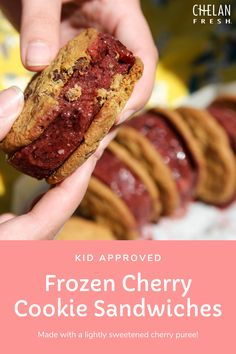 This lightly sweetened frozen cherry puree is made from whole fruits so it makes a refreshing healthy treat on its own. But serve it up between your favorite homemade or store-bought cookie and you have the perfect dessert on hand for hot summer days.