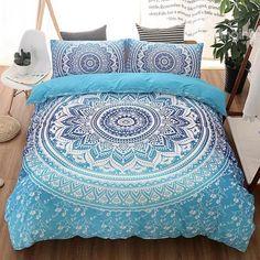 Bohemian Style Mandala Print Blue Gradient Polyester 3-Piece Bedding Sets/Duvet Cover #DoubleBedSheets