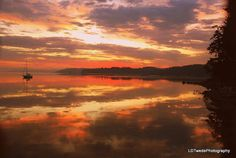 Sunset Photograph Reflection Seascape by LDTwedePhotography