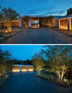 Upon arriving at this modern house, you are greeted by uplighting that highlights the landscaping and the garage. #ModernHouse #ExteriorLighting #Garage #Landscaping #Architecture