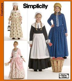 Puritan, Centennial, and Century Girls' Costumes Patte Pilgrim Costume, Turkey Costume, Costume Patterns, Dress Patterns, Costume Ideas, Pilgrim Dresses, Maternity Patterns, Australian Clothing, Pioneer Dress