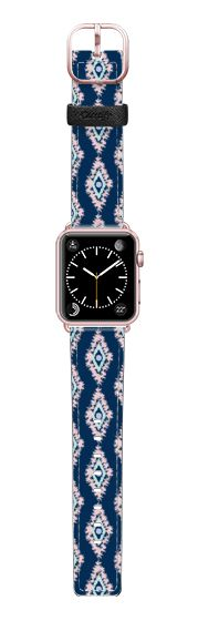 Casetify Apple Watch Band (38mm) Saffiano Leather Watch Band - Pastel Dream Navy Ikat by Organic Saturation