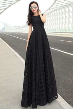 2015 summer  European and American Style Slim long maxi dress organza dress women clothes black Size S-2XL