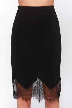 Chic to Me Black Lace Midi Skirt #skirt #style #black