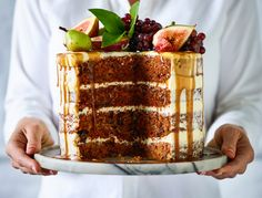 Naked carrot, chocolate and walnut cake with caramel pear sauce