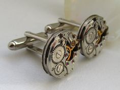 Steampunk Cufflinks  with the smallest  round vintage by Timewatch, $29.00