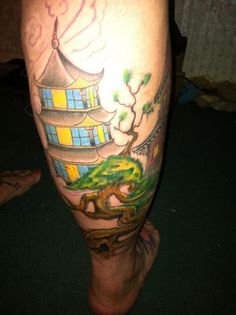 The latest addition to my Japanese tattoo 11-1-12. In the front of course is my gorgeous Geisha, a red Japanese house and some AMAZING Cherry Blossoms. gonna eventually cover the entire calf-if I can take it! lol ARTIST: Blake Thomas