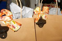 Usher gift bags with hobby lobby can openers that attach to the wall and colorful ribbon