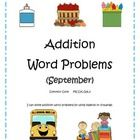 Addition Word Problems - September - 8 pages - Solve using number line, drawing, ten frame, and equation - Great for morning work, centers, or a minilesson - More addition and subtraction word problem packets available - $