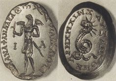 Talismans - Magical gem: Eagle-headed figure (A) Chnoubis (B)