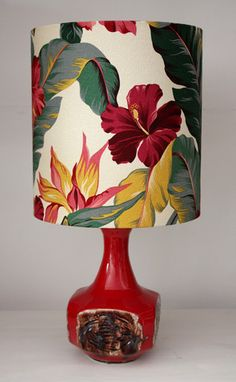 red retro vintage lamp with hibiscus barkcloth shade