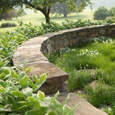 stone wall & overgrown flagstones