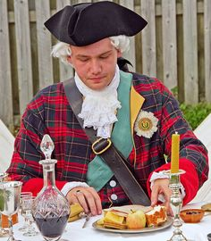 Local historian and author Arran Johnston settles down to a princely meal in character as Bonnie Prince Charlie, the Young Pretender, during a re-enactment of the Battle of Prestonpans, which took place during the 1745 Rebellion. Bonnie Prince Charlie, William Wallace, Scottish Gaelic, Dragonfly In Amber, Highlanders, Arran, Historical Clothing, Tartan Plaid, Historian