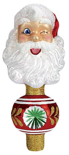 The Jolly Christmas Shop - Old World Christmas Winking Santa Tree Topper, $34.99 (http://www.thejollychristmasshop.com/old-world-christmas-winking-santa-tree-topper/)