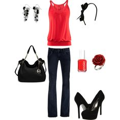 Red and black outfit :)