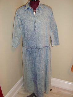Vintage Nicole Paris Sz 10 Ladies Blue Denim Acid Washed Shirt Dress 100% Cotton #NicoleParis #ShirtDress