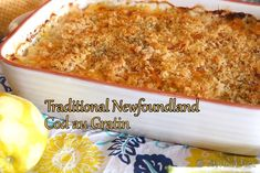 Easy instructions to make traditional Newfoundland cod au gratin. Cod is covered in a white sauce, topped with bread crumbs & cheese & baked until golden. Cod Recipes, Seafood Recipes, Great Recipes, Cooking Recipes, Favorite Recipes, Dinner Recipes, Seafood Meals, Shellfish Recipes, Salmon Recipes