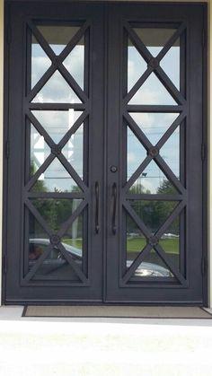 47 New Ideas for farmhouse front door hardware window Iron Front Door, Black Front Doors, Double Front Doors, Exterior Front Doors, Glass Front Door, Black Exterior, Glass Door, Black Windows, Cafe Exterior