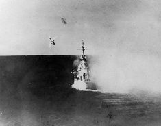 Ki-51 kamikaze attack of Japanese Army Sekicho Squadron diving at USS Columbia in Lingayen Gulf Philippine Islands on 6 January 1945. The plane and its bomb penetrated two decks before exploding killing 13 (including 3 survivors of the USS Ommaney Bay (CVE-79) who had been rescued two days earlier after their ship was sunk following a kamikaze attack) and wounding 44 men.