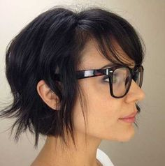 Adorable textured bob on medium to fine textured hair. Side swept bang.