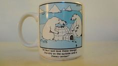 We LOVE The Far Side!  This is one of the classic Far Side cartoons on a nice white mug/coffee cup: Oh Hey! I just love these things! Crunchy on