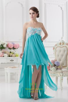 Blue High Low Prom Dresses 2014,High Low Dresses Formal With Embroidery Top