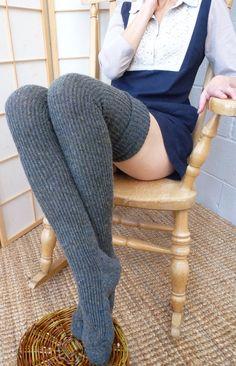 fd22c98f19a Thigh high - KNITTED WOOL socks - extra long - 25 cm foot  100cm leg - EU  37 to42 - Mid Grey Charcaol