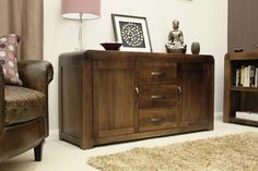 Shiro Walnut Large Sideboard - CDR02A is part of our Baumhaus Shiro furniture collection, constructed using solid walnut. #Furniture #PriceCrashFurniture #LoungeAndLiving #Lounge #LivingRoom #Baumhaus #Shiro #Sideboard http://pricecrashfurniture.co.uk/shiro-walnut-large-sideboard-cdr02a.html