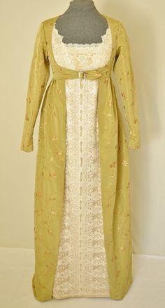 Robe Regency, Jane Austen Style robe ou la robe de mariée, avec la veste Spencer et brodées taffetas,
