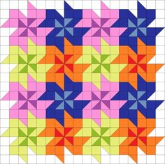 Tessellating flower quilt block pattern with movement. No curved seams, looks like sq and half-sq triangles Too cute not to pin - Tessellating flower quilt block pattern. reminds me of alice and wonderland You can create an endless number of unique quilt Patchwork Patterns, Quilt Block Patterns, Pattern Blocks, Quilt Blocks, Easy Patterns, Scrappy Quilts, Easy Quilts, Patchwork Quilting, Star Quilts