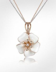 Chaomingzhen Rose gold plated opal Crystal Rose Flower Pendant Long Necklace for Women IUp2Hsr