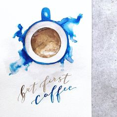 First things first. Calligraphy Practice, Modern Calligraphy, Brush Type, But First Coffee, Brush Lettering, Coffee Art, Coffee Quotes, The One, Bedroom Ideas
