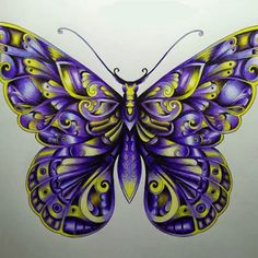 Take a peek at this great artwork on Johanna Basford's Colouring Gallery! Butterfly Coloring Page, Butterfly Drawing, Butterfly Tattoo Designs, Butterfly Painting, Butterfly Crafts, Butterfly Wallpaper, Butterfly Wings, Colored Pencil Artwork, Color Pencil Art