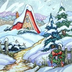 """Daily Paintworks - """"Winter Haven Storybook Cottage Series"""" - Original Fine Art for Sale - © Alida Akers"""