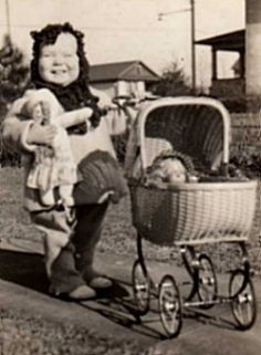 chubby darling with buggy and dolls