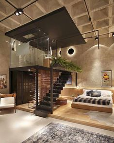 Any thoughts on this beautiful, modern loft? Design by Intown Arquitectura in São Paulo, Brazil 🇧🇷 Lofts Pequenos, Modern Interior Design, Interior Design Inspiration, Design Ideas, Interior Ideas, Minimalist Interior, Luxury Interior, Luxury Loft, Bedroom Inspiration