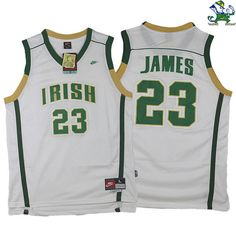 5f0e08988 LeBron James Fighting Irish High School  23 White Jersey Discount Nike  Shoes