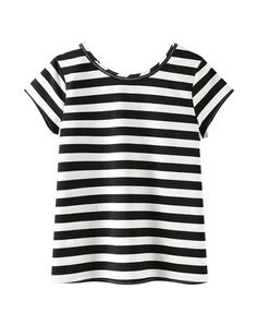 Stripes Chain Backless T-shirt