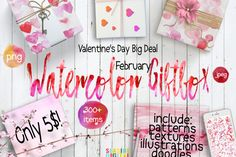 "Happy February everyone! I want to introduce you my February Deal - ""Valentine's Day Watercolor Giftbox"" - OVER 300 ITEMS! What is this deal about: with only 5$ you can have a beautiful collection of watercolor textures, patterns, illustrations, doodles, all in pink, red and gold color pallet."