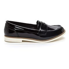 Better On Jane Faux Patent Loafers BLACK (325 ZAR) ❤ liked on Polyvore featuring shoes, loafers, shiny shoes, synthetic shoes, black shoes, black loafer shoes and loafers & moccasins
