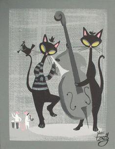 EL GATO GOMEZ PAINTING RETRO 1950S KITSCHY JAZZ BAR BLACK CAT EAMES BEATNIK MOD in Paintings | eBay
