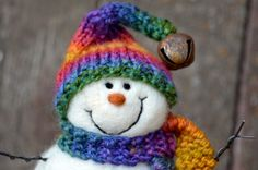 Snowman Needle Felted Snowmen Solid Wool 435 by BearCreekDesign