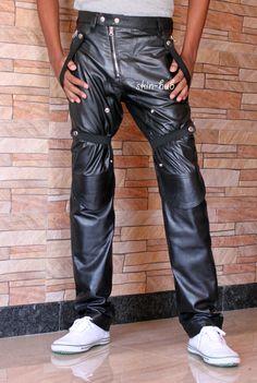 LE CRAZE Mens Leather Pant Genuine Lambskin Slim fit Leather Casual Trouser Pants MP01