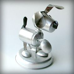 Your Little Dog Too  recycled art sculpture assemblage  by leuckit, $135.00