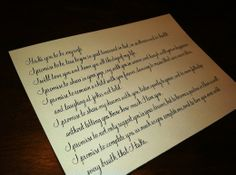 Wedding vows, in copperplate.