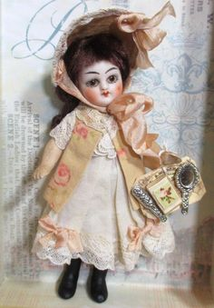 "Sweet 4"" Antique Bisque Head ( Glass eyes, swivel Neck)/ Composition Body Miniature Dollhouse Doll"